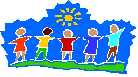 Children holding hands looking at the sun