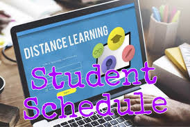 laptop screen that says distance learning student schedule