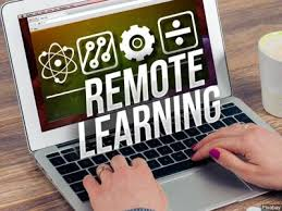 laptop screen that says remote learning